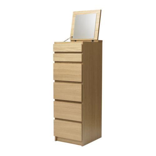 Malm Cassettiera 6 Cassetti.Malm Cassettiera Con 6 Cassetti Bianco Vetro A Specchio Home