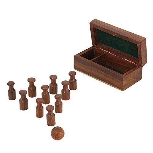 miniatur aus holz bowling set handgemachte weihnachtsgeschenk brettspiel f r erwachsene. Black Bedroom Furniture Sets. Home Design Ideas