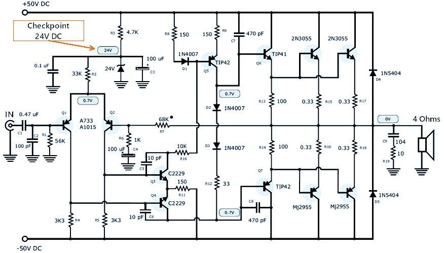 this is 120w power amplifier schematic using to-3 package complementary  transistors, npn and pnp polarity. the … | power amplifiers, audio amplifier,  hifi amplifier  pinterest