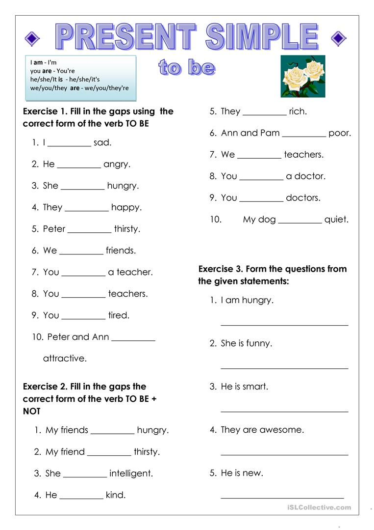 To be and have got, Present Simple worksheet - Free ESL ...