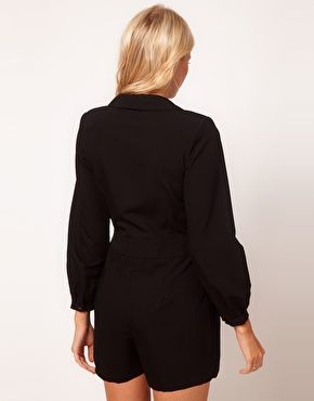 Enlarge ASOS PETITE Exclusive Playsuit With Deep V Neckline And Long Sleeves