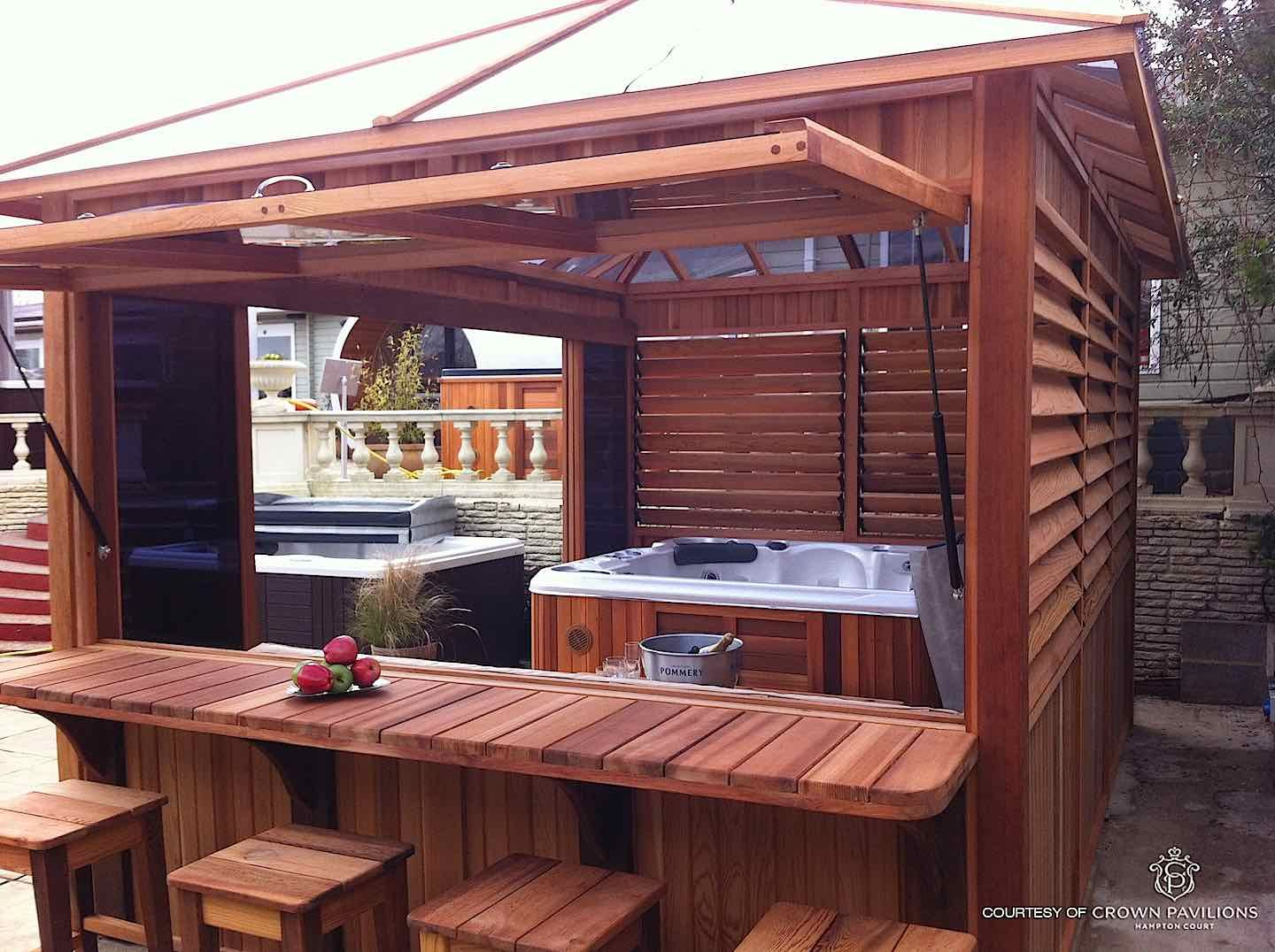Some Of The Hot Tub X2f Spa Enclosures Built With The Flex Fence Hardware Kit Include A Louvered Cedar Spa Hot Tub Outdoor Hot Tub Landscaping Hot Tub Patio