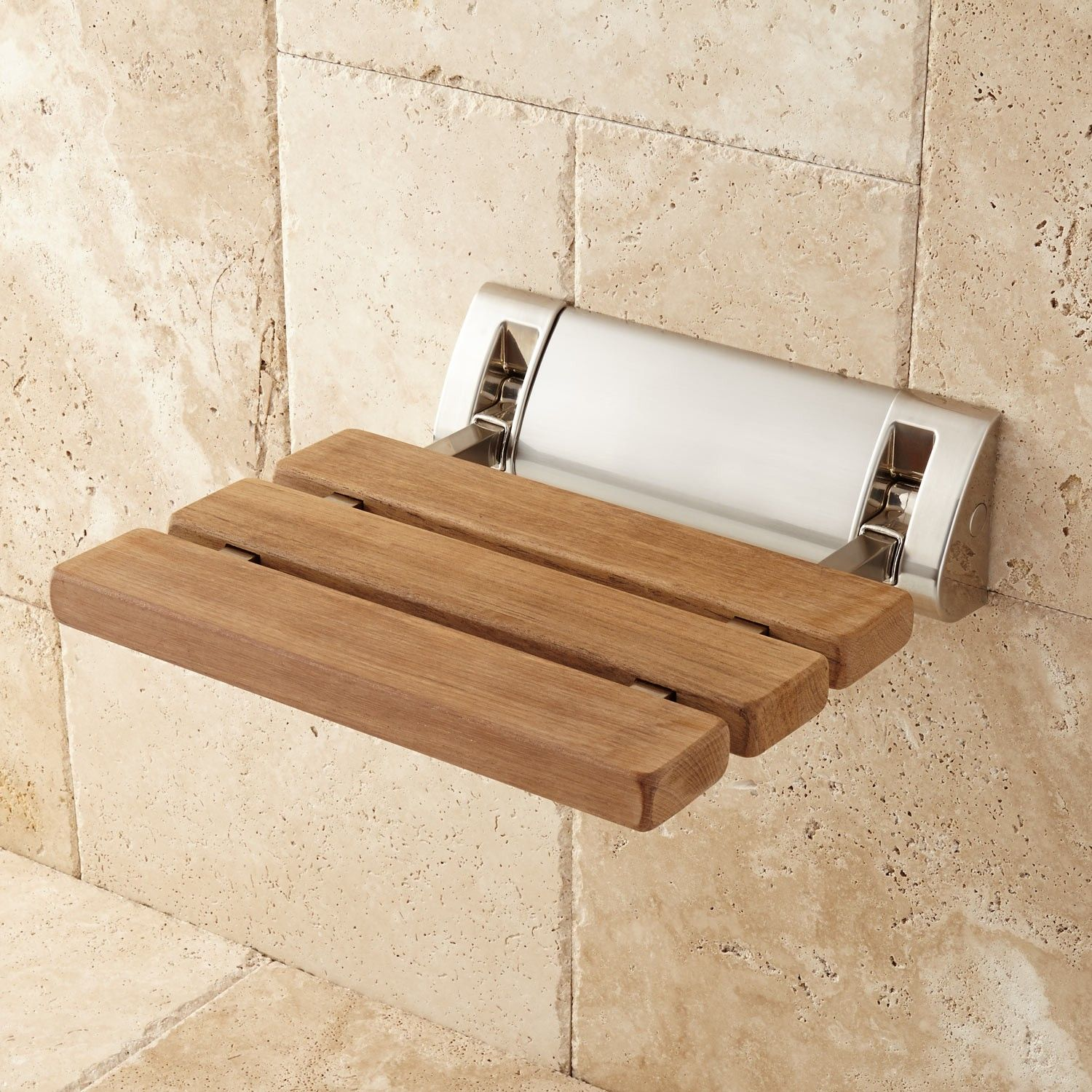 Teak Fold-Up Shower Seat - Shower Seats - Bathroom Accessories ...