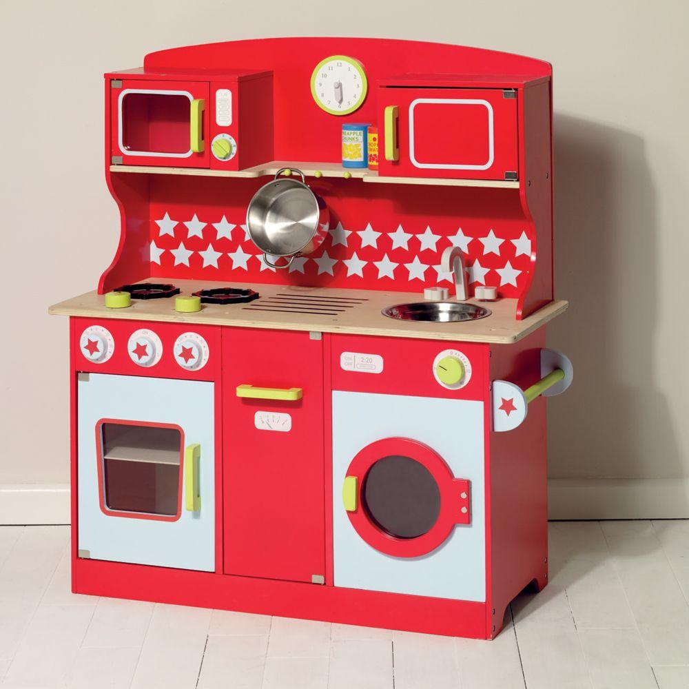 Toy Kitchen Play Kitchen Red Kitchen Kids Toys Children S Kitchen Wooden Kitchen Toys Red Play Play Kitchen Antique Toys