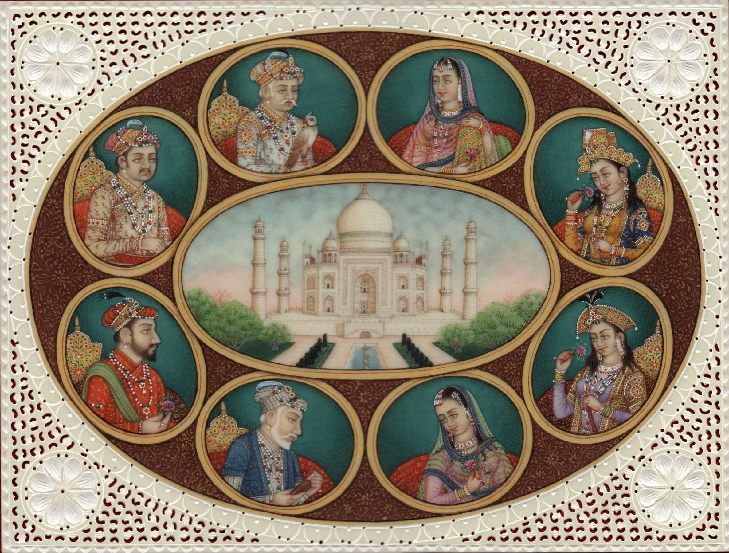 Mughal Dynasty Miniature Art Handmade Mughal Empire Emperor Empress Painting