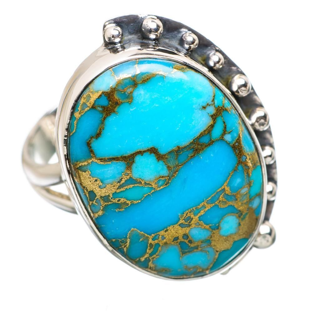 Ana Silver Co Blue Copper Composite Turquoise 925 Sterling Silver Ring Size 8.75 RING836964