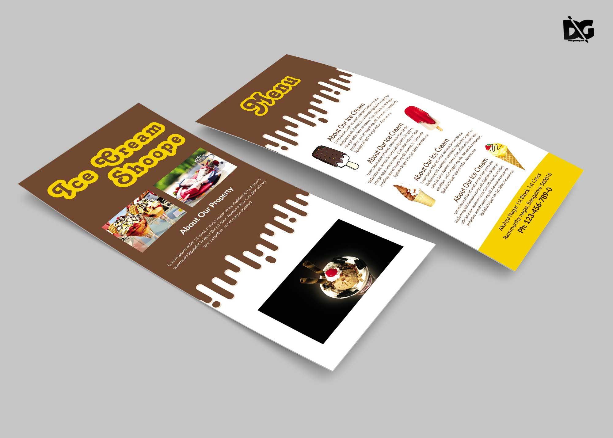 Free Chocolate Ice Cream Rack Card Template Rack Card Templates Rack Card Rack Cards Design