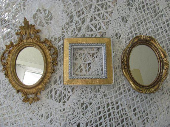 Vintage Set 3 Ornate Gold Metal Picture Frames by THISPLUSTHAT, $28.50