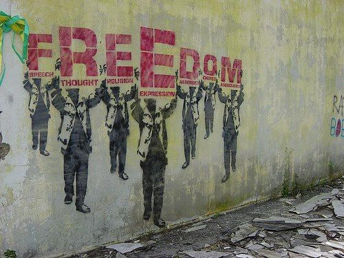 Freedom Of Expression Banksy Freedom Art Political Art Graffiti Art