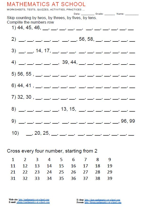 1st grade skip counting worksheets Skip counting by twos, by threes ...