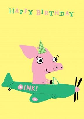 This piggy sends out birthday wishes from is plane aptly named this piggy sends out birthday wishes from is plane aptly named oink m4hsunfo Images