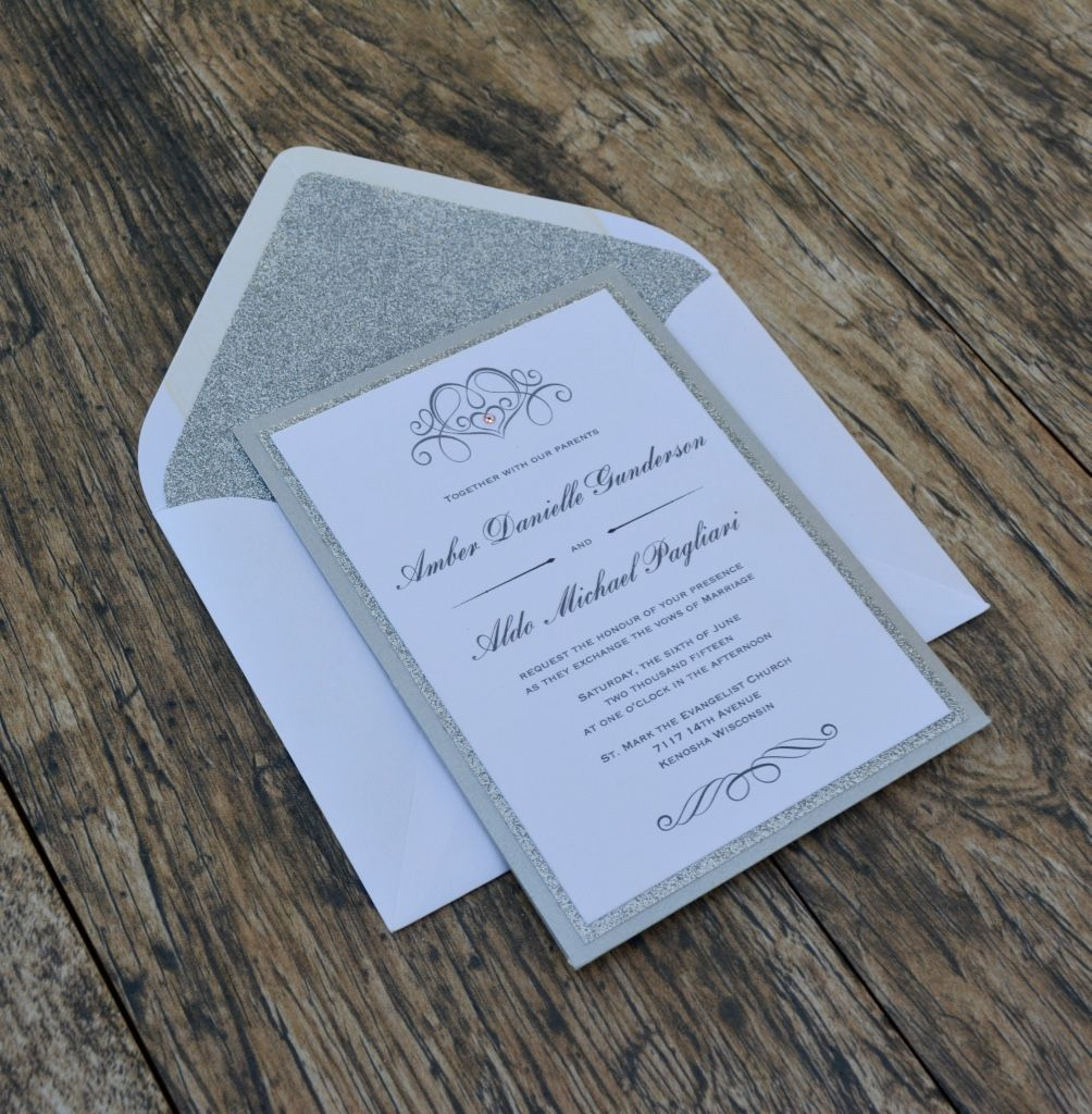 Silver And White Winter Wedding Invitation With Glitter Layer And