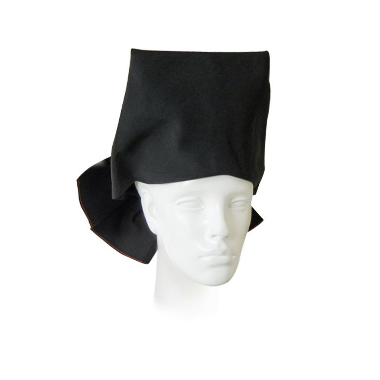 ADRIAN BLACK FAILLE TOQUE HAT WITH BACK BOW