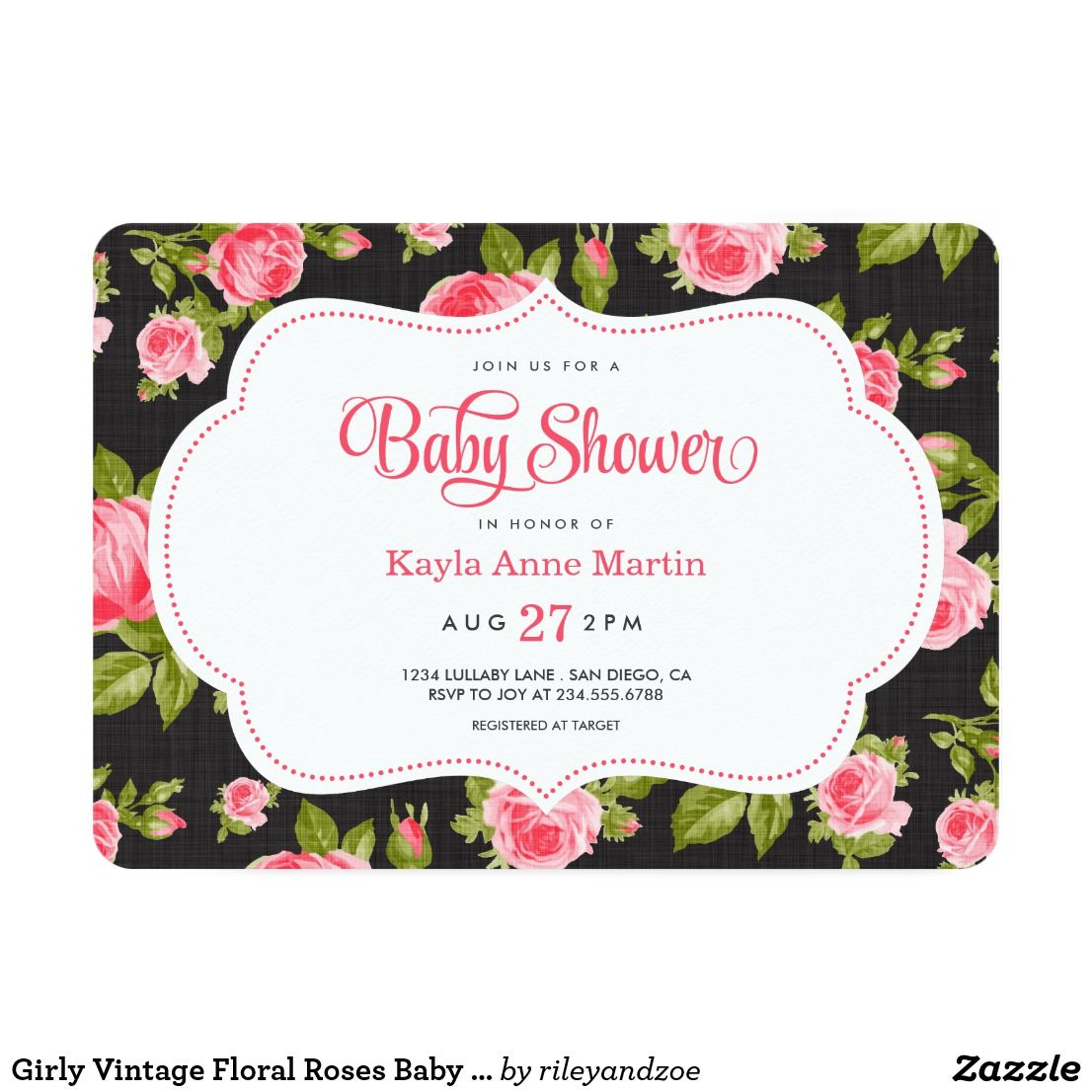 Girly Vintage Floral Roses Baby Shower Invitation | Vintage floral ...