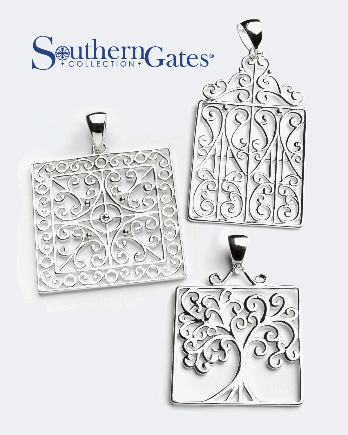 Charleston Gate Jewelry : charleston, jewelry, Square, Pendants, Southern, Gates®, Collection., (P851,, P849,, P850), Charleston, Gates, Jewelry,, Jewelry