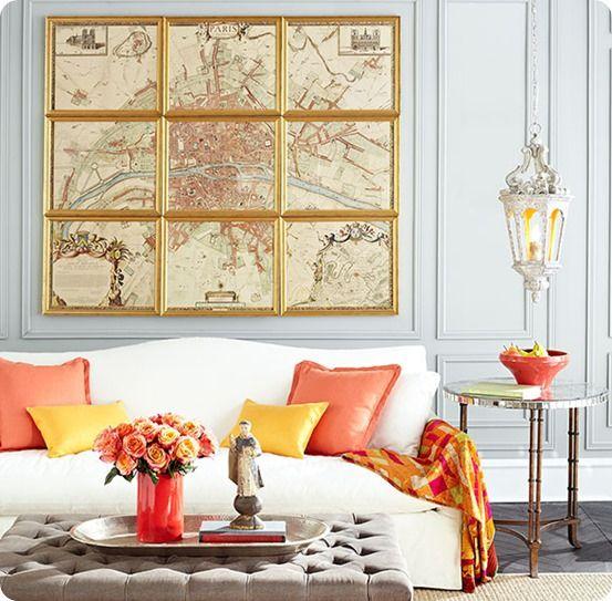 Framed Map Art–Great for Large Walls   Decor, Interior design ...