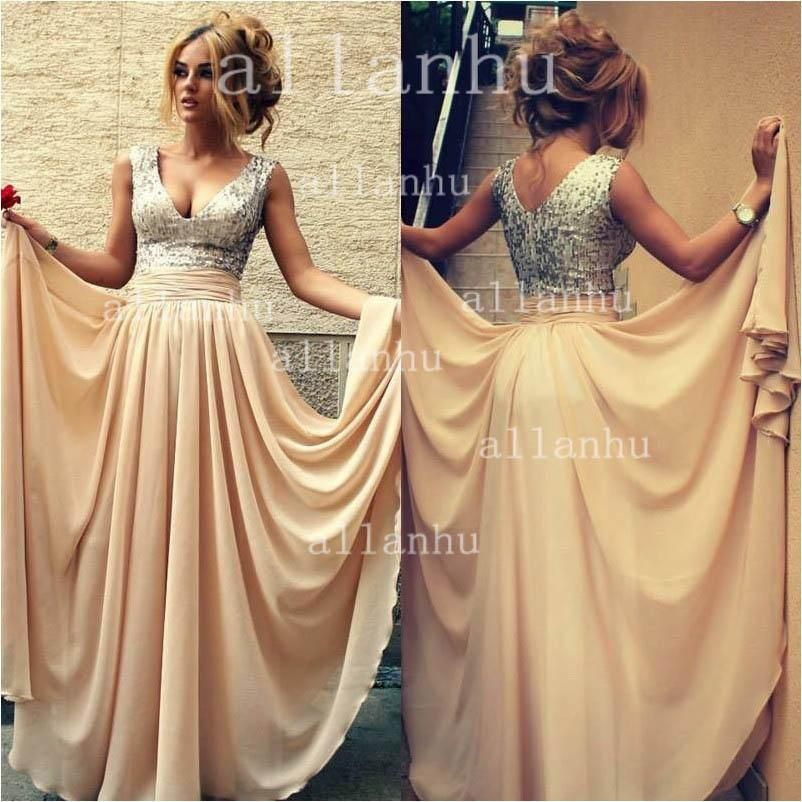 Wholesale Wedding Dress with Sleeves - Buy 2014 Prom Dresses Exquisite Sequins Decorated With SheerV-neck Chiffon Formal Evening Gowns BO3389, $109.37 | DHgate