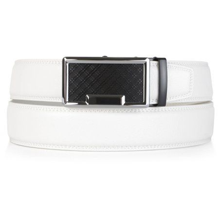 Daxx Mens Adjustable Topstitched Genuine Leather Ratchet Belt, Men's, Size: Large, White