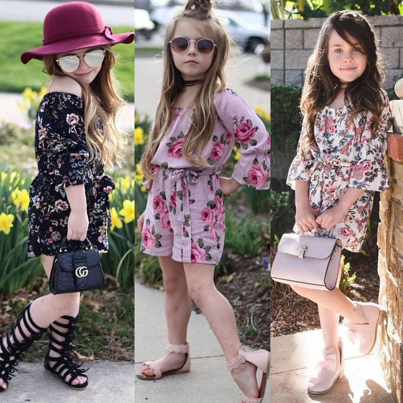 700754ee688 Toddler Baby Girl Floral Romper Bodysuit Jumpsuit Sunsuit Summer Clothes  Outfits