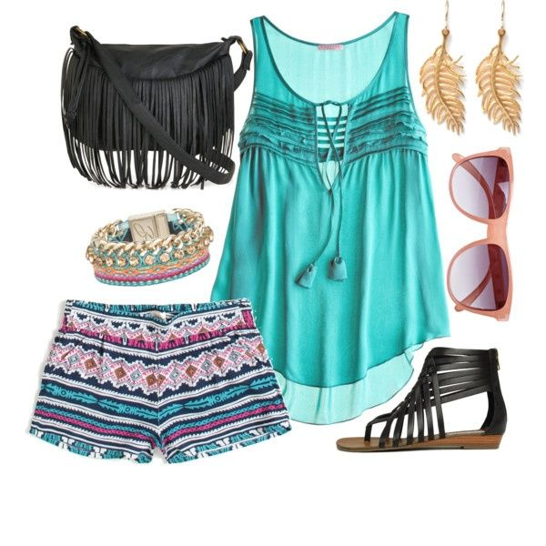 Turquoise Top  Tribal Print Shorts dressed-to-kill