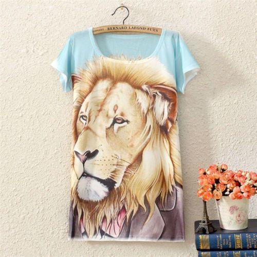 Summer Women Short Sleeve Lion Graphic Printed T Shirt Tee Blouse Tops ZQQ06 | eBay