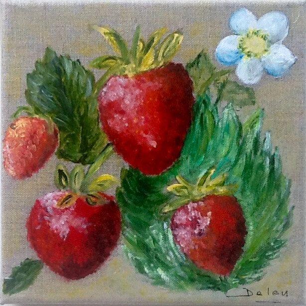 Tableau acrylique/figuratif/fruits rouge/ jardin/ete/ cuisine/fraises/arts de la boutique MagalineARTS sur Etsy