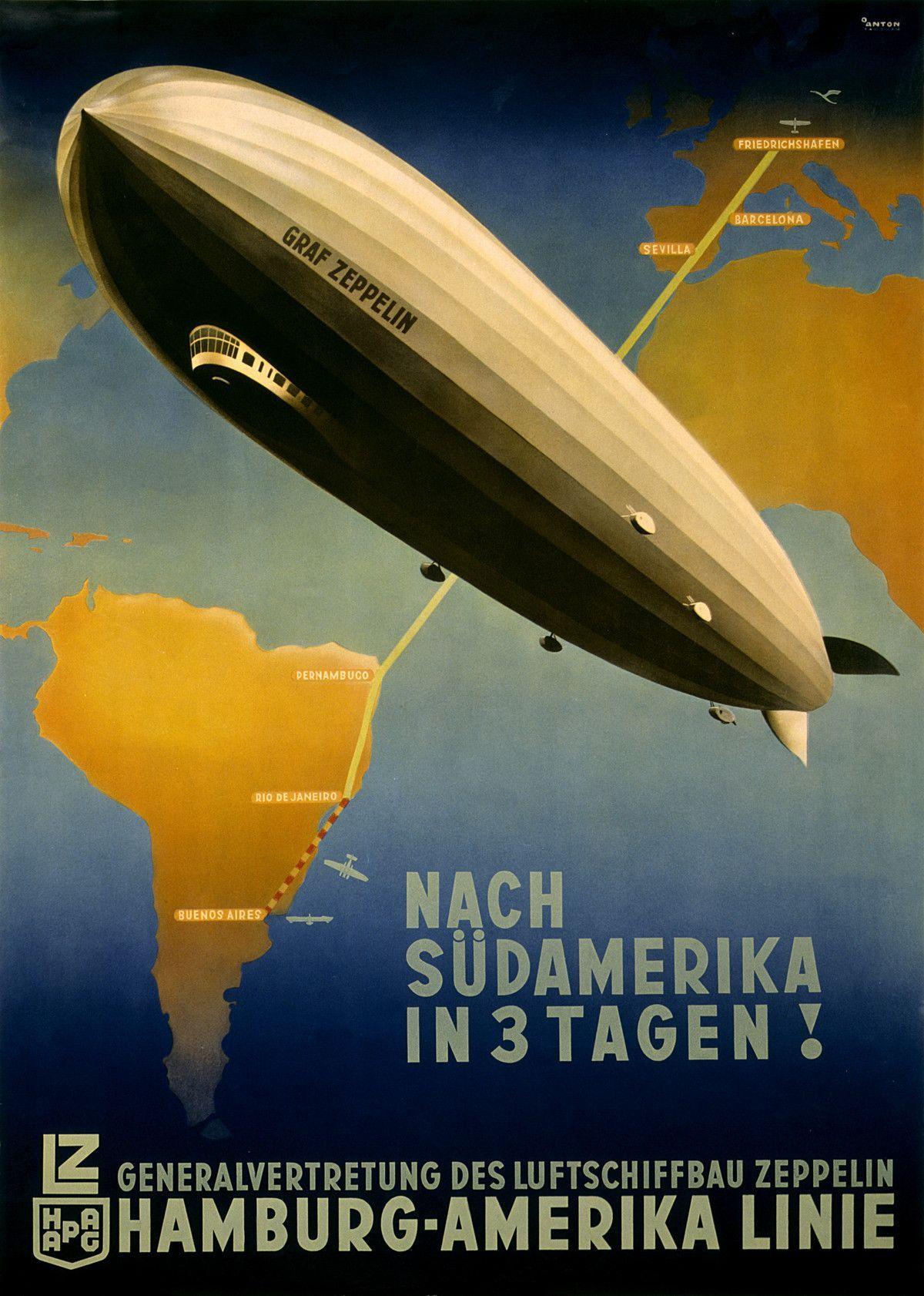 Zeppelin Across Atlantic Hamburg Travel Tourism Vintage Poster Repro FREE S//H