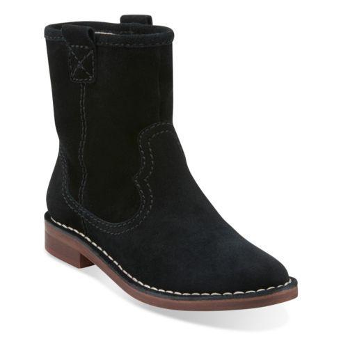 Black Clarks Womens Boots Suede Cabaret Rock