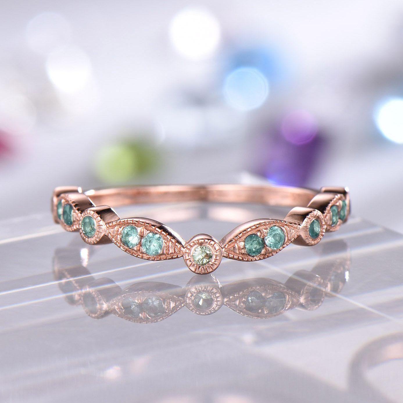 Alexandrite Peridot Wedding Band Art Deco Ring Milgrain Lab Etsy Topaz Engagement Ring White Topaz Engagement Diamond Wedding Bands