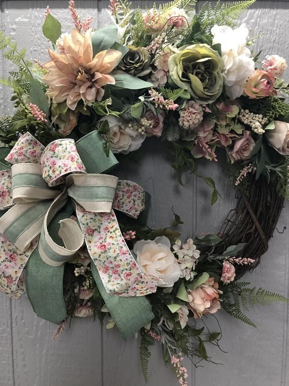 Photo of Everyday Wreath, Spring Wreath, Designer Wreath, Victorian Wreath, Grapevine Wreath,Floral Wreath