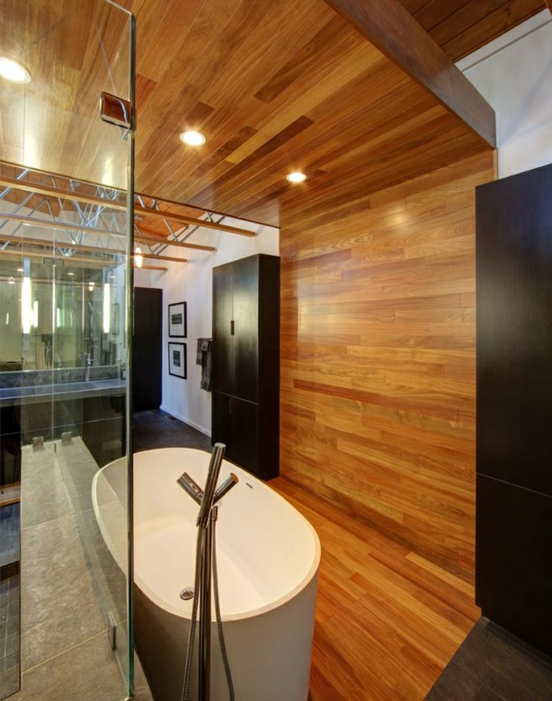 Badgestaltung Mit Holz Freistehende Badewanne