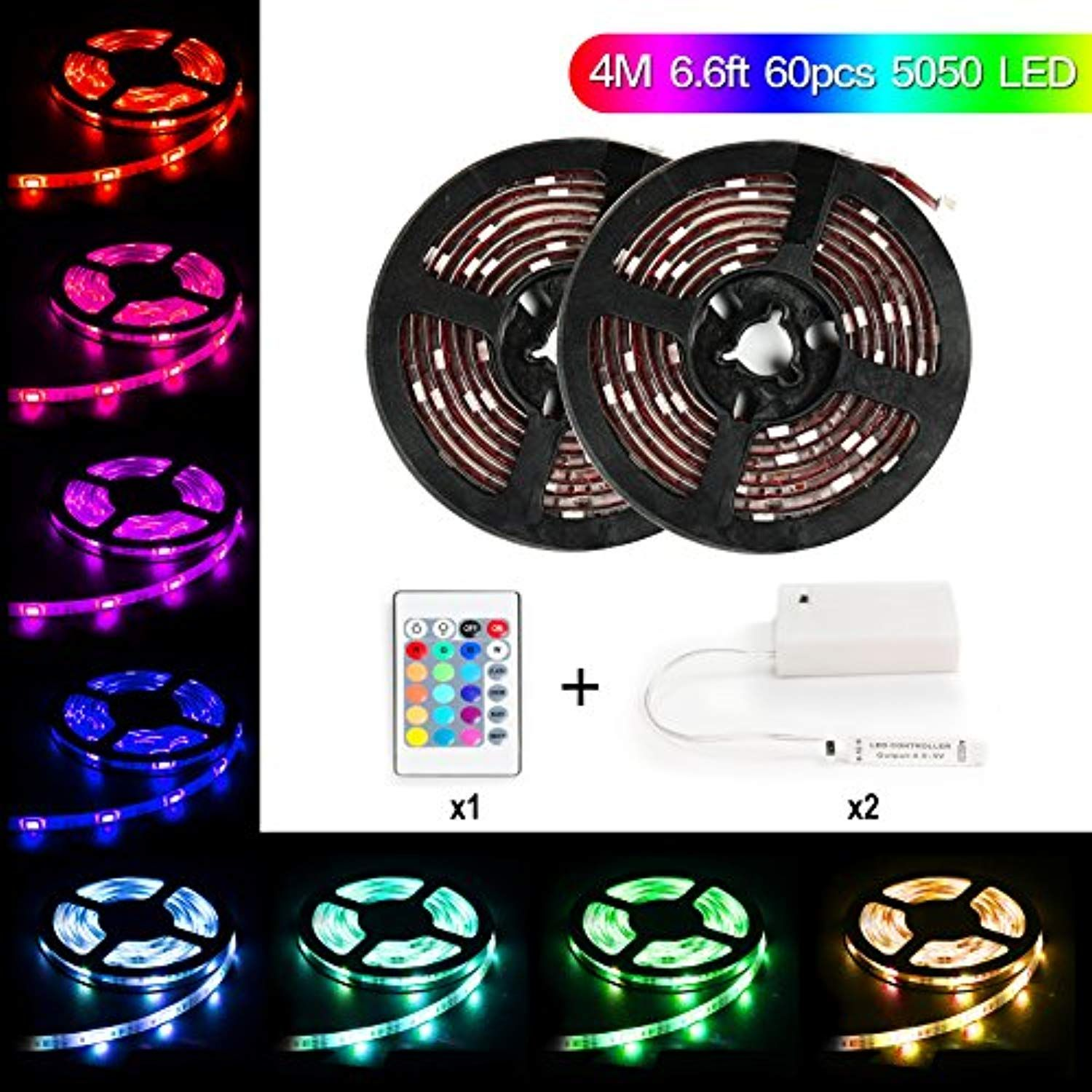 Led Light Strip Battery Powered Meilly 4m 13 2ft Ip65 60pcs