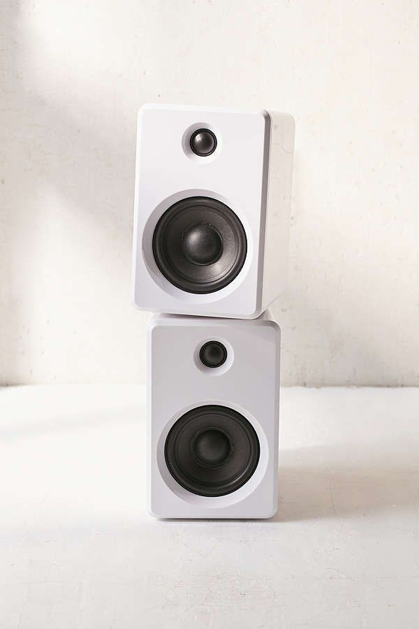 speaker white bookshelf rear gloss speakers active wireless pair kef copper