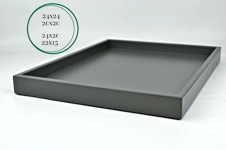 Dark Gray Coffee Table Tray Large Ottoman Tray Wood Decorative