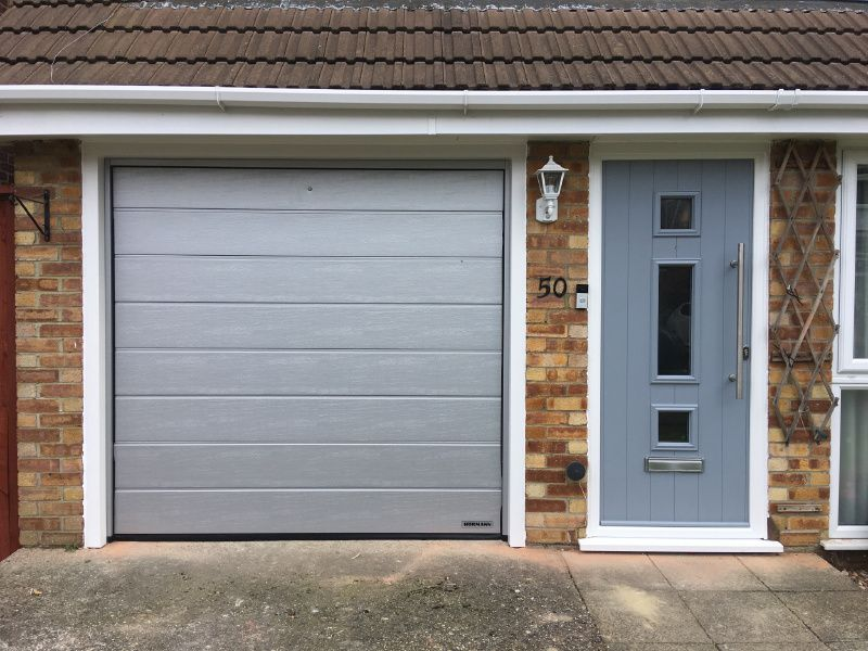 Installation By Swr Horman Single Sectional Garage Door And Solidor Front Door In French Grey Swr Redefin Garage Door Styles Garage Doors Single Garage Door