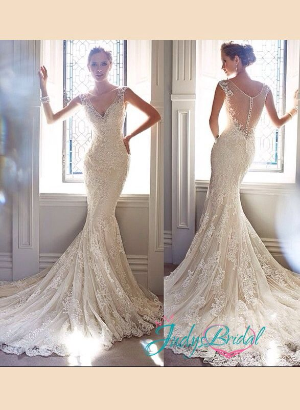 stunning 2014 new sheath mermaid flare wedding bridal dress with strap and sheer see through back