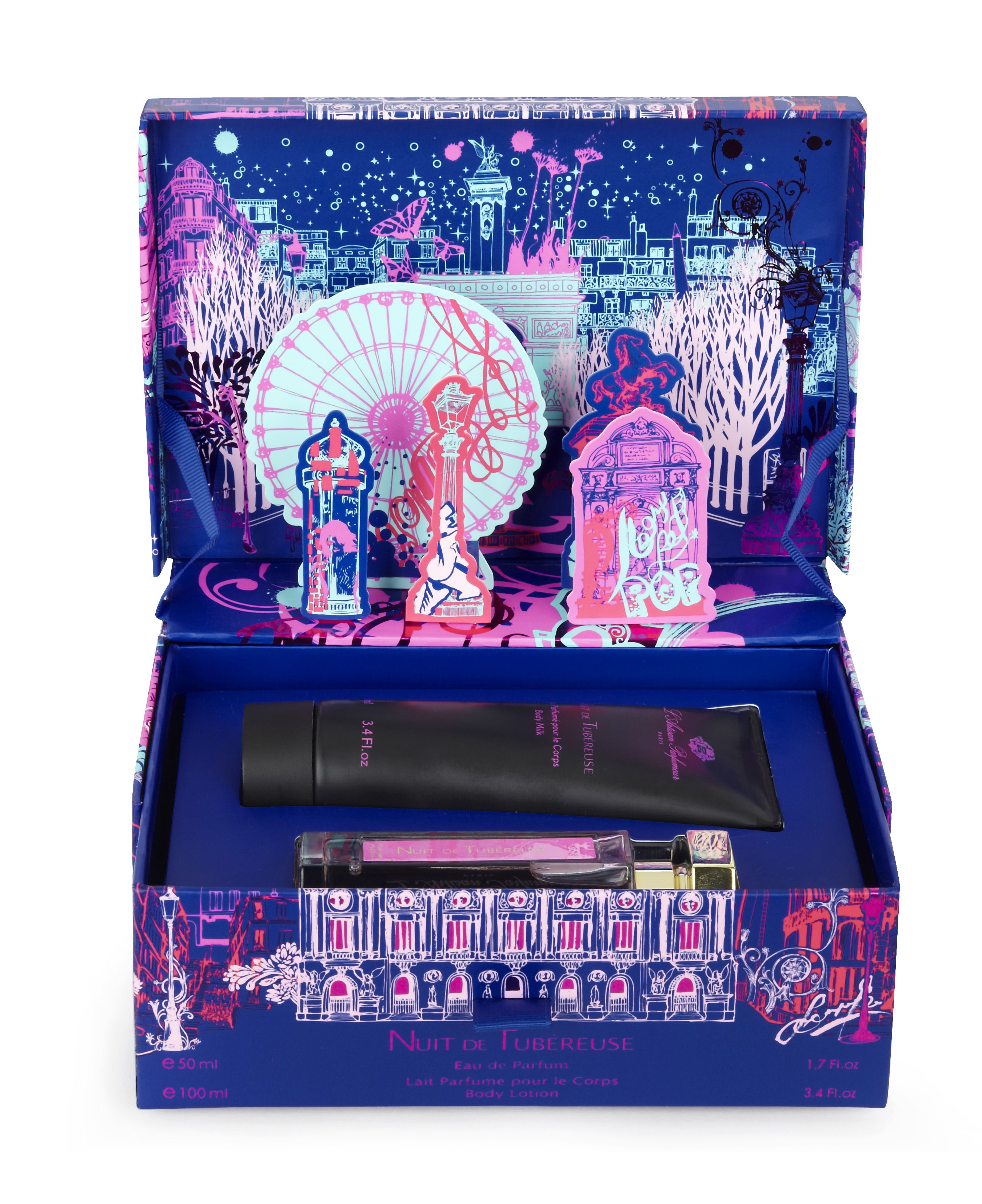 Notre coffret de Noël.  Nuit de Tubéreuse (en format 50ml), addictive et narcotique, se présente avec son lait sensuel pour le corps (100ml).