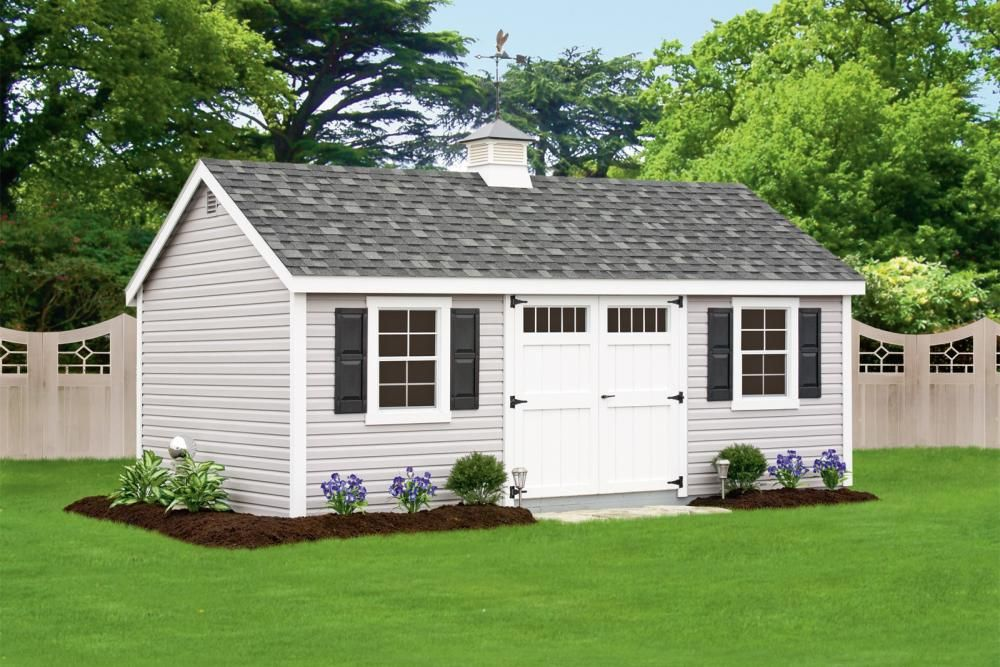 Deluxe Cape Cod 12 X 20 Heritage Gray Vinyl Siding White Trim And Doors Black Shutters Charcoal Architectural Shing White Vinyl Siding Shed Vinyl Siding