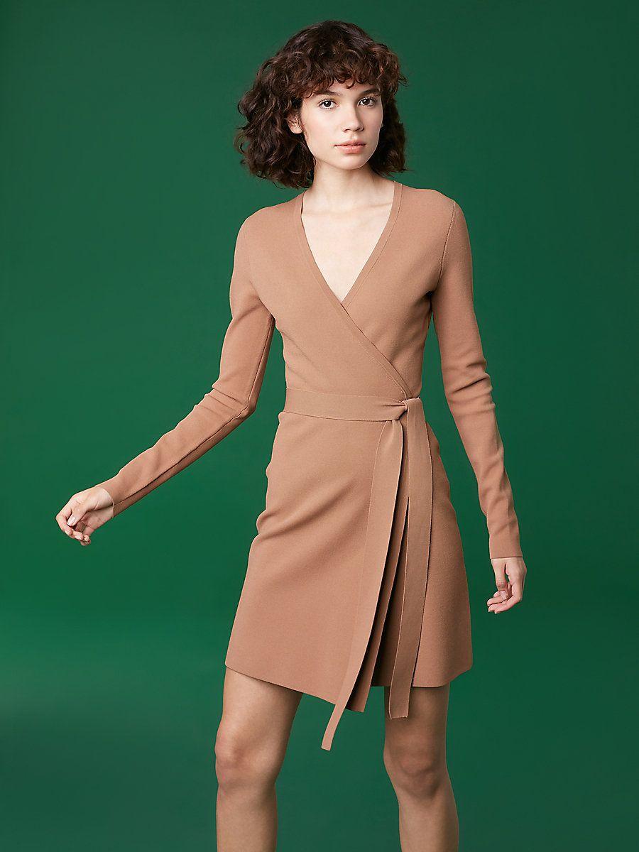 Long-Sleeve V-neck Knit Wrap Dress in Walnut  2782ce09e