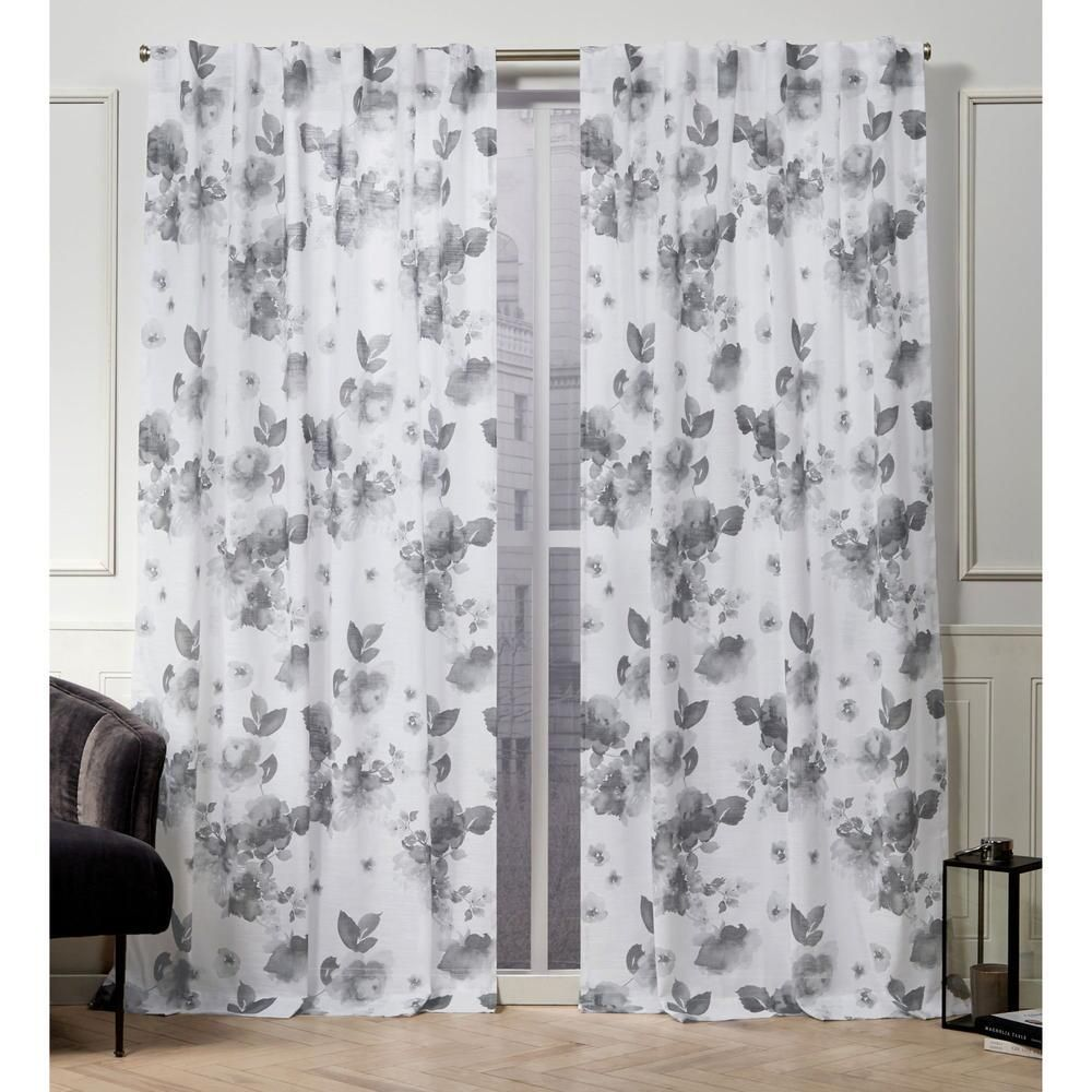 Kristy Floral Cotton Hidden Tab Top Curtain Panel Pair In 2020