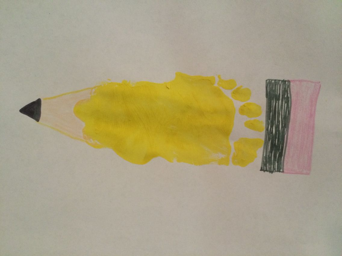 Back To School Footprint Pencil Back To School Art Baby Art