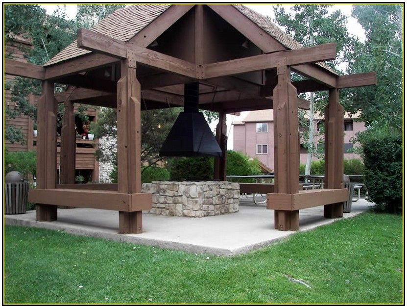 Elegant classic outdoor gazebo design with fire pit idea for Plans for gazebo with fireplace