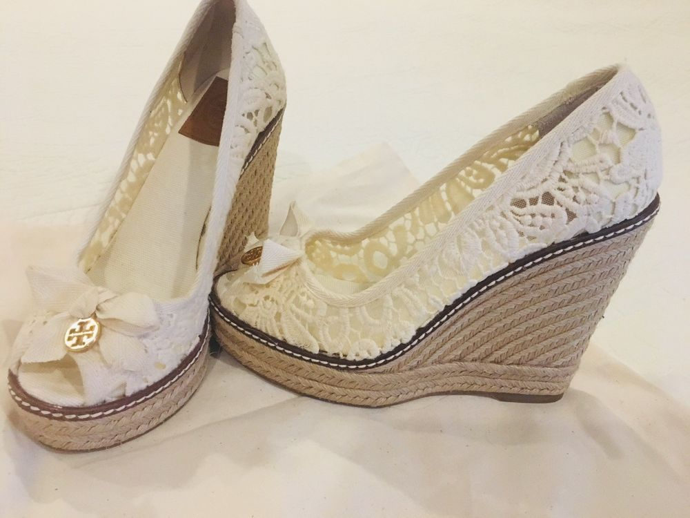 18057ee34300 Tory Burch jackie peep toe espadrille wedges rope lace crochet floral white  5.5  fashion