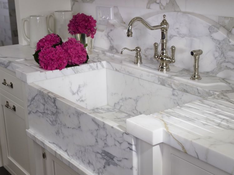 Marble Farm Sinks   Panel Front Marble Farm Sink With Runnels   St. Charles  Of
