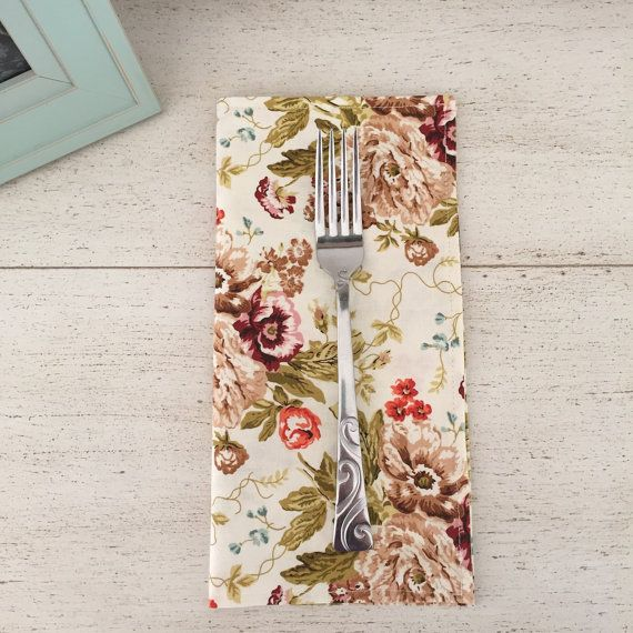 Rustic Floral Cloth Napkins | Cocktail Napkins, Everyday Napkins and Dinner Napkins with Blush, Coral, Olive and Dark Purple Burgundy | Table Linens by WildfireEvents