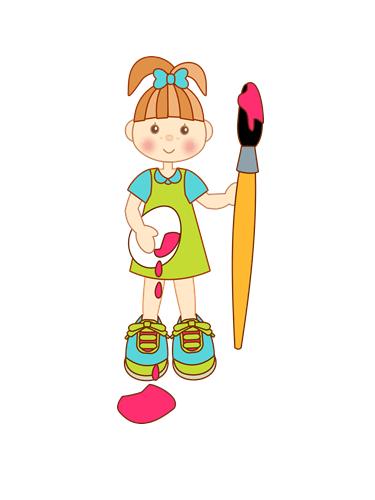 pincel pintando. niña con pincel para colorear huevos de pascua pintando a