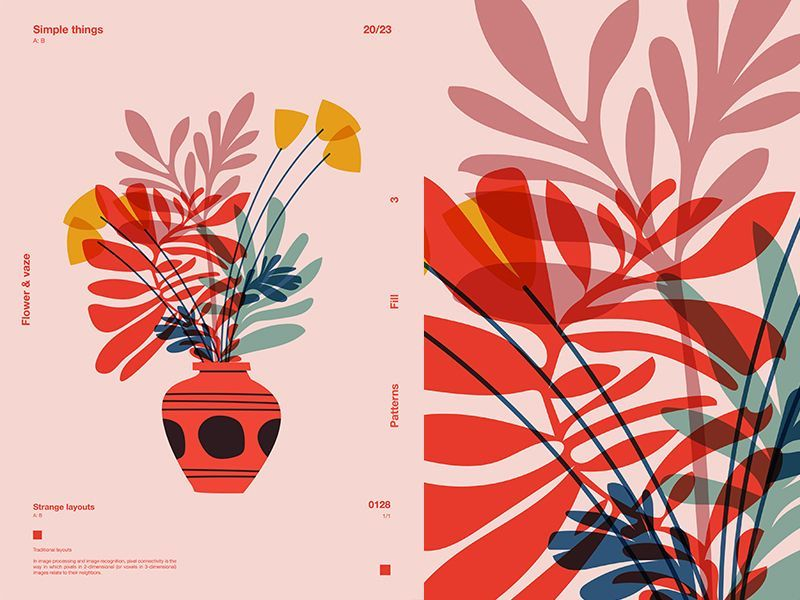 Flowers Vaze #graphicprints Flowers Vaze vaze floral flowers grid fragment layout poster art poster challenge form poster a day lines poster illustration laconic composition abstract minimal #minimalbedroom