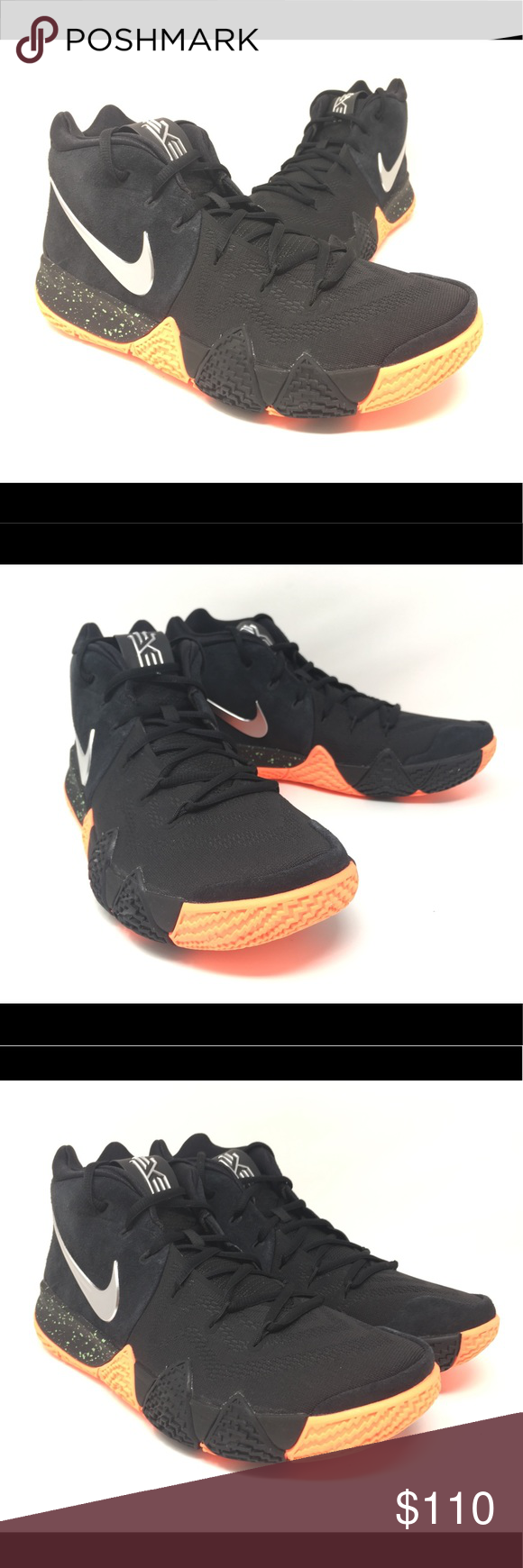 wholesale dealer 662e1 a8a1c ... 50% off nike kyrie 4 black silver basketball shoes new nike kyrie 4  black metallic