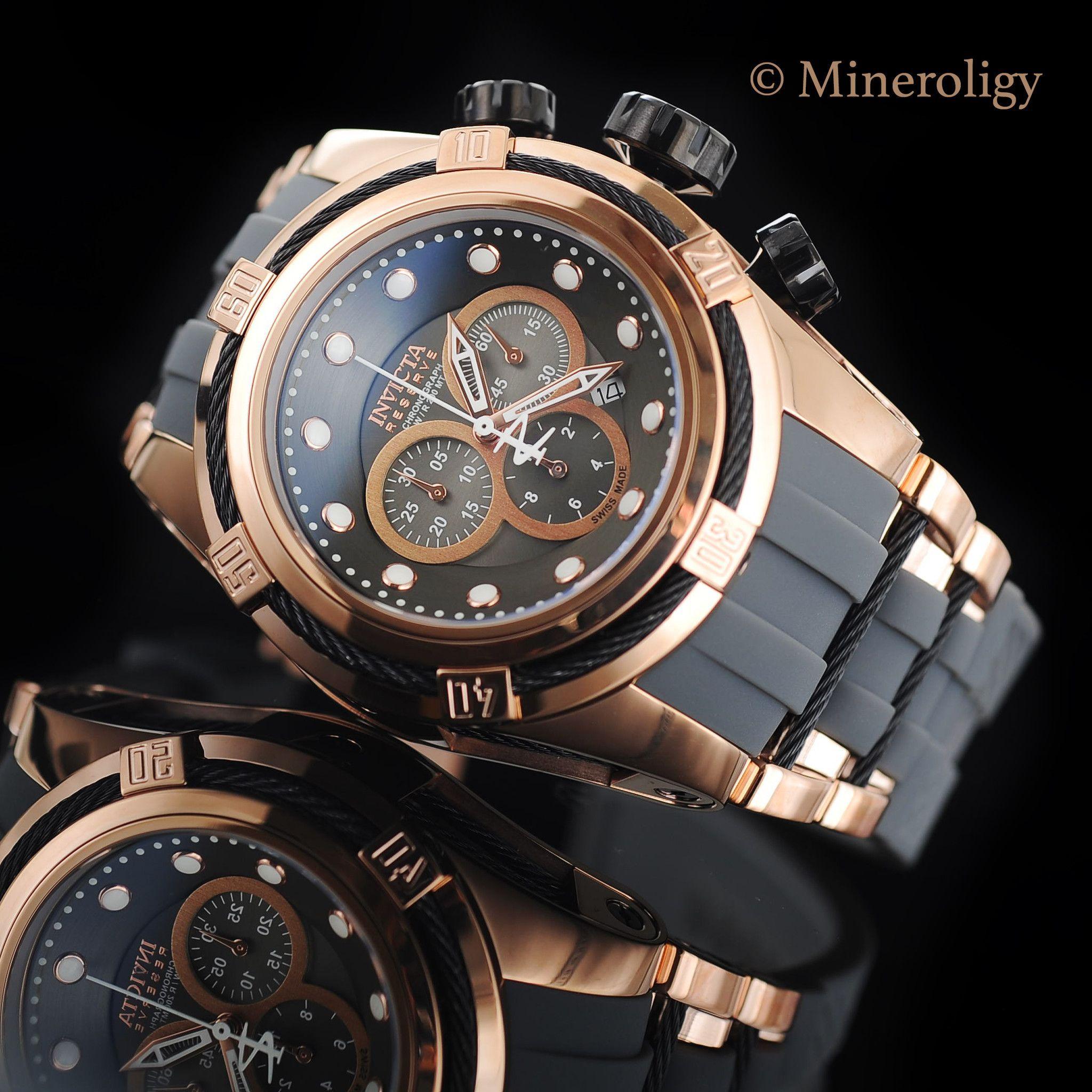 Invicta Bolt Zeus 53mm 18k Rose Gold IP Gray Strap Watch  0317363496e