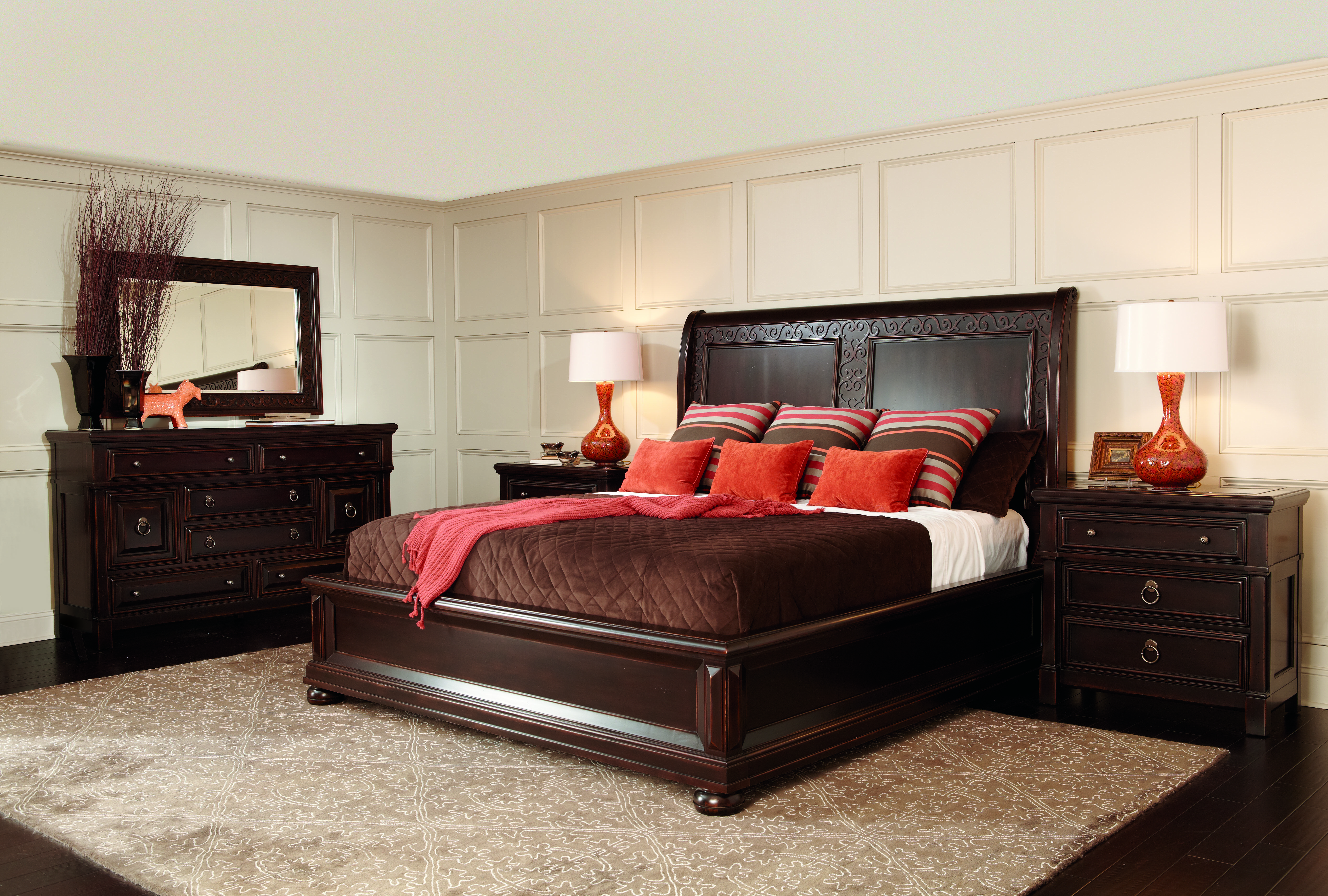 Bernhardt Pacific Canyon Sleigh Bed At Stacy Furniture Design This Gorgeous Sleigh Bed Has Rich Dark Under Stacy Furniture Beautiful Bedrooms Queen Bedroom